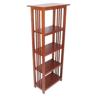 target mission folding bookcase 60 quot bookshelf hardwood cherry alaterre furniture target