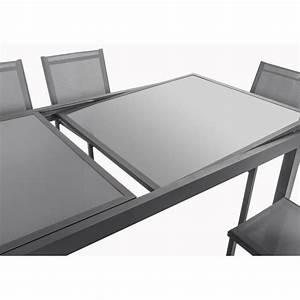 Plateau De Table En Verre : ensemble table extensible 200 300 cm 8 chaises gris aluminium et plateau verre 318424 ~ Teatrodelosmanantiales.com Idées de Décoration