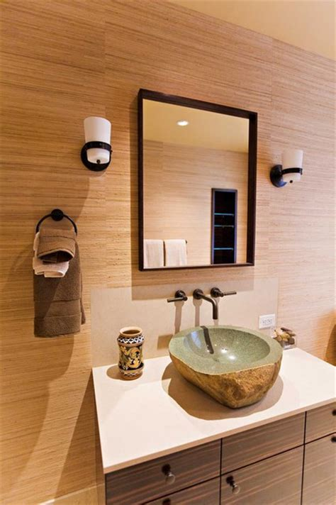 guest bathroom custom macassar ebony veneer cabinetry