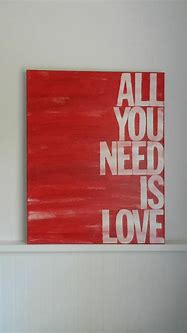 all you need is love 16x20 hand painted canvas sign red