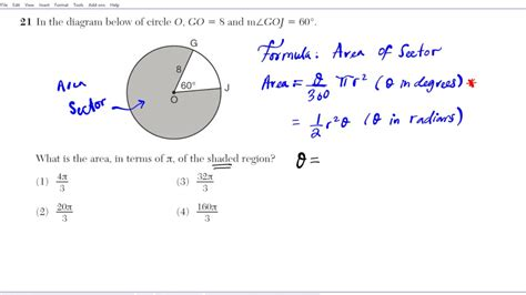 calculate  area   sector geometry common core