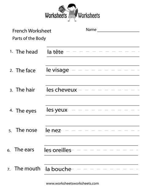 french body parts worksheet printable class french