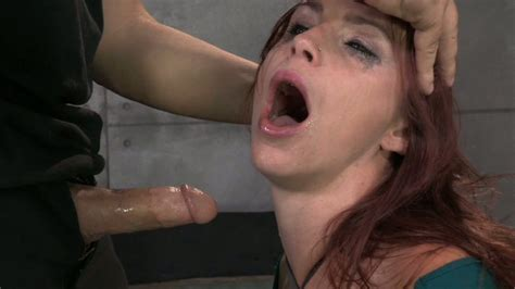 Bound Redhead Chick Bella Rossi Gets Mouth Fucked By Black Fellow And White Man Tough