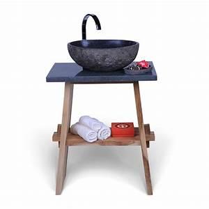Holz Farbe Anthrazit : teak holz waschtisch zen inkl flu steinplatte anthrazit 60x40x74 cm bei wohnfreuden kaufen ~ Sanjose-hotels-ca.com Haus und Dekorationen