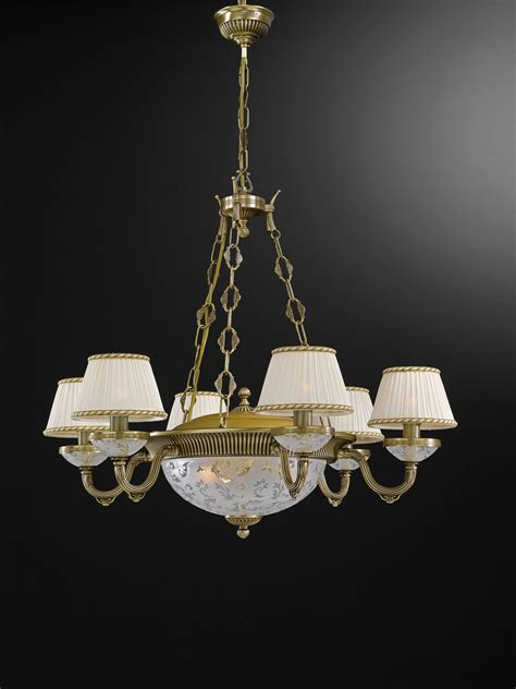9 lights brass and frosted glass chandelier with l