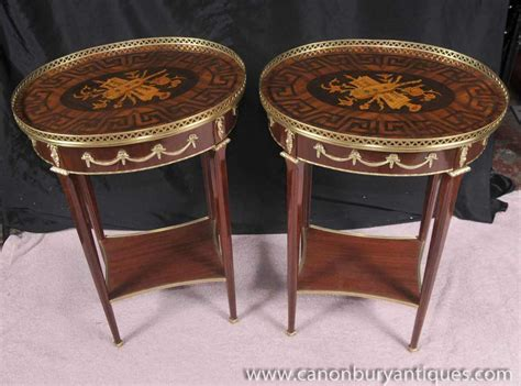 Pair Louis Xv Side Tables Inlay Sofa Table Furniture