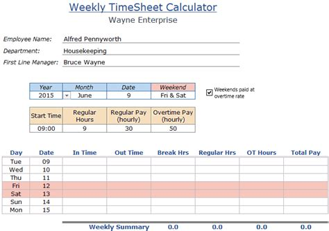 free employee timesheet calculator template in excel