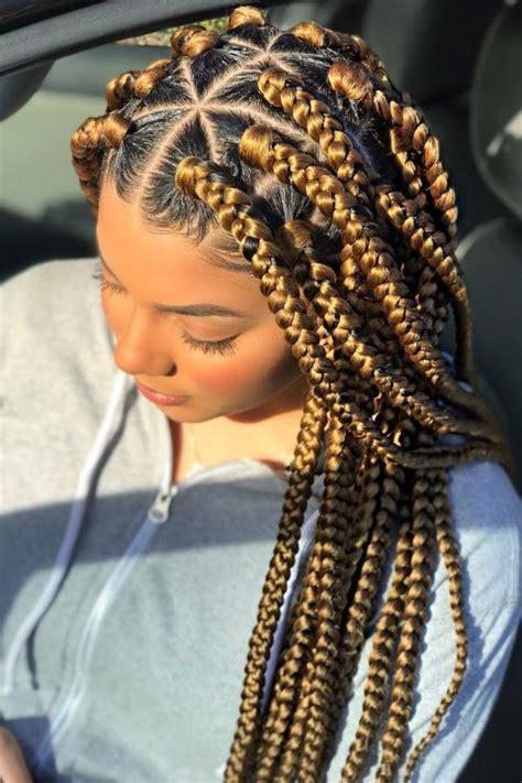 triangle braids hairstyles    rocking box braids