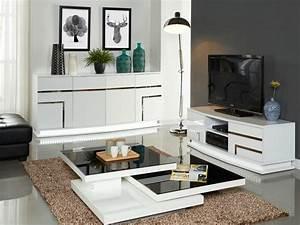 Meuble Tv Buffet : pack meubles luminescence leds buffet meuble tv blanc ~ Teatrodelosmanantiales.com Idées de Décoration