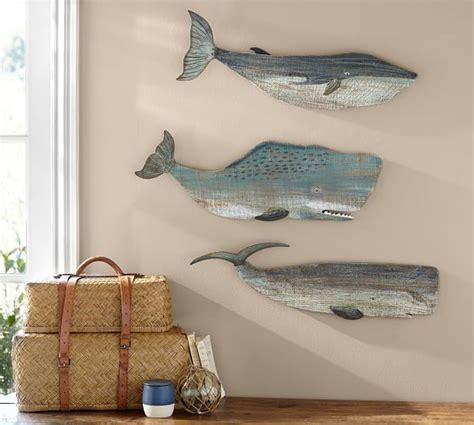 Painted Wood Whales Wall Art Set   Pottery Barn