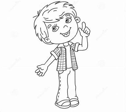 Coloring Cartoon Boy Pages Template Colouring Drawing