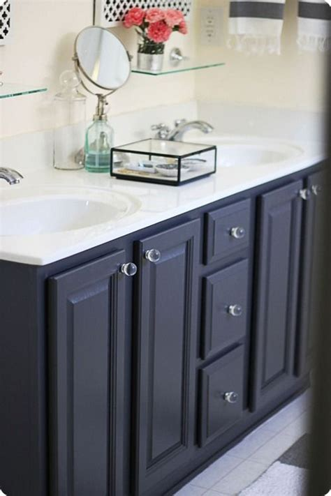 navy blue cabinet megan s vanity via thrifty decor bathrooms vanities
