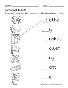consonant blends worksheets  kindergarten letter