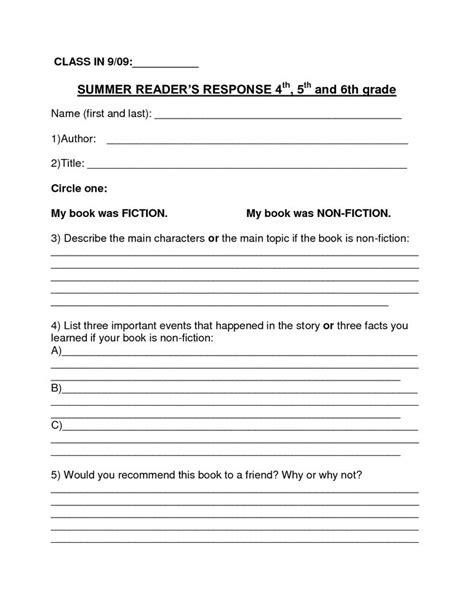 book report template summer book report   grade