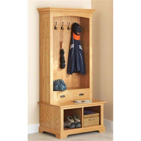hall tree storage bench woodworking plan  wood magazine