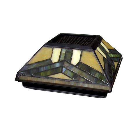 6 solar post cap lights 6 in x 6 in solar powered stained glass post cap 511