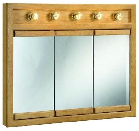 richland nutmeg oak lighted tri view wall cabinet mirror