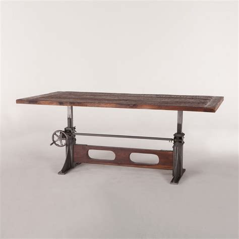 Table L by 84 Quot L Crank Dining Table Industrial Design Wood Top
