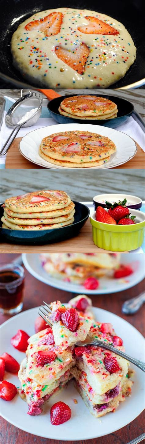 birthday breakfast check out strawberry sprinkle funfetti pancakes it s so easy to make birthdays pancake