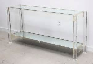 narrow clear acrylic console table with shelf for small