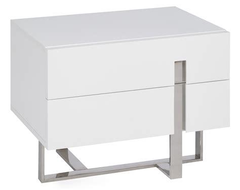 table de chevet moderne blanc laqu 233 et acier dezina lestendances fr