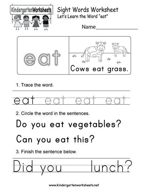 this is a sight word worksheet for the word quot eat quot you can