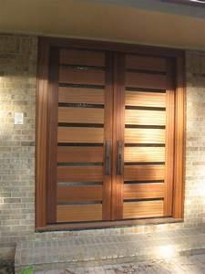 Doors Designs, Fascinating Modern Wooden Double Front Door ...