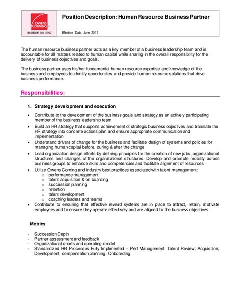 Hr Business Partner Cover Letter Sle by Human Resource Business Partner Updated 2012