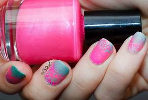 PhD nails June macro challenge neon pink and green matte