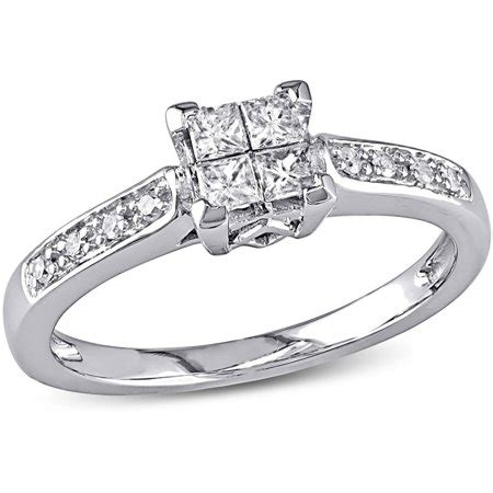 miabella 1 4 carat t w princess and cut engagement ring in 10kt white gold