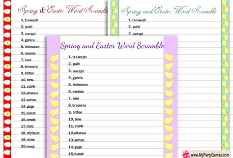 7 Free Printable Spring Word Scramble Puzzles