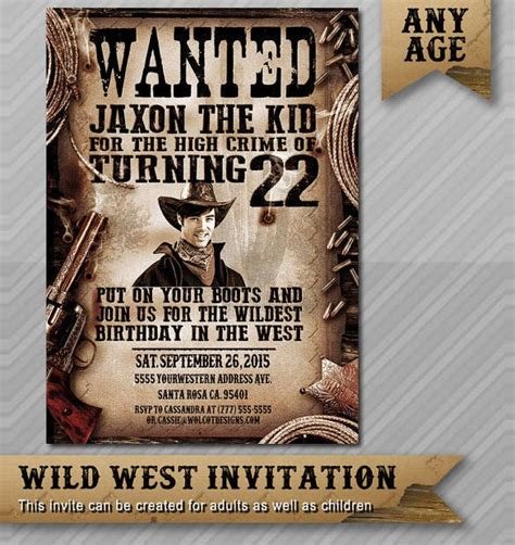 wanted poster cowboy printable western invitation template custom posters templates word invitations stationery pdf vendors etsy create il