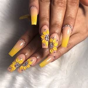 50 amazing sunflower nail designs for summer page 27