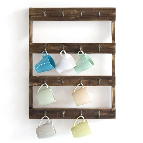 Wall cup holders, the design is free to improve it. Wall Mounted 16-Hook Torched Wood Coffee Mug Cup Holder ...