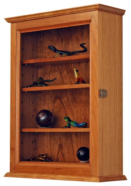 Hardwood Wall Shelves by Cherry Wall Hanging Curio Cabinet Traditional Display