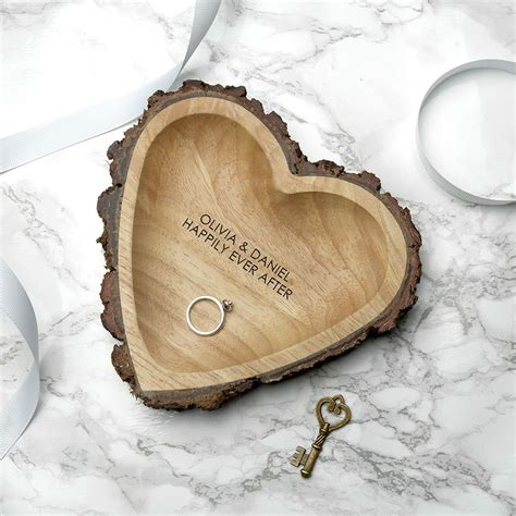 rustic carved wooden heart dish