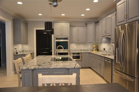 kitchen grey cabinets viscon white granite  black