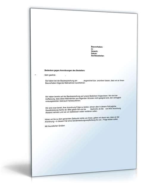 musterbrief bedenkenanmeldung gegen anordnung des bestellers