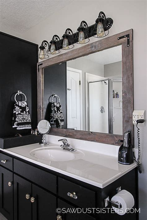 How To Put A Frame Around A Bathroom Mirror by Diy Stick On Mirror Frame Sawdust