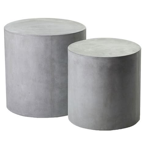 Holloway Round Concrete Side Tables, Set of 2   Moss Manor