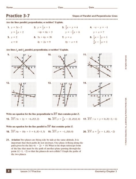 worksheets parallel and perpendicular slopes worksheet