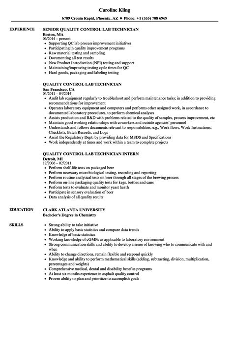 Quality Technician Resume Sle by Quality Lab Technician Resume Sles Velvet