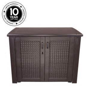 Rubbermaid Storage Cabinets Home Depot by Rubbermaid 123 Gal Patio Chic Basket Weave Patio Cabinet