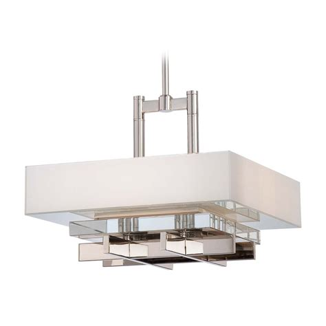white square l shade crystal pendant light in polished nickel with white square