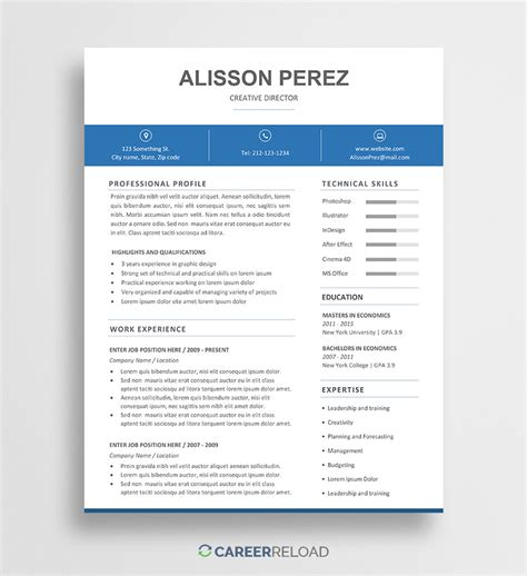 Word Resume Template by Free Resume Templates Free Resources For