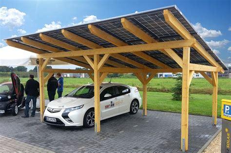 Sen Sol50 Solar Carport Opel Ampera Elektroauto Holz