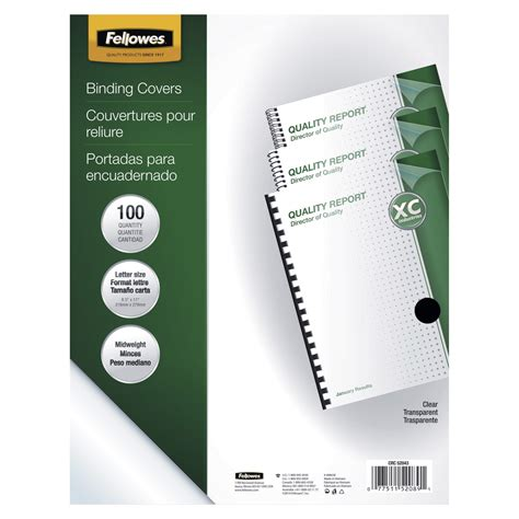 fellowes crystals binding presentation covers letter 100 pack clear fellowes plastic presentation cover clear school