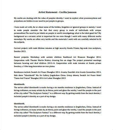 artist statement template artist statement exles 8 free pdf documents free premium templates