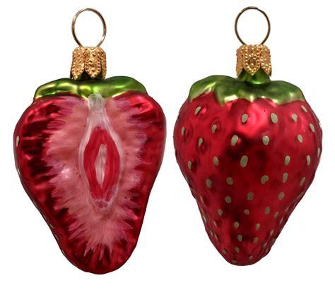 strawberry fruit polish blown glass christmas ornament set