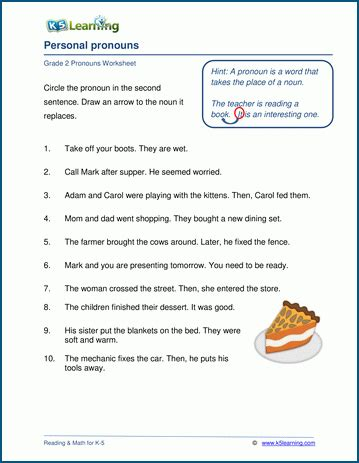 personal pronouns worksheets for grade 2 students k5 learning